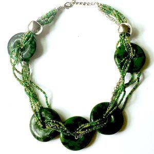 Green Stone Beaded Necklace